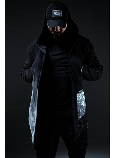 XHAN Siyah Kamuflaj Baskılı Sweatshirt 1Kxe8-44333-02 Siyah